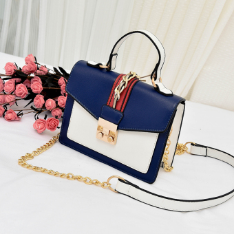 Small Square Korean-style female New style stereotypes versatile shoulder bag (Blue with white)