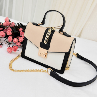 Small Square Korean-style female New style stereotypes versatile shoulder bag (Casual with white)