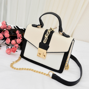Small Square Korean-style female New style stereotypes versatile shoulder bag (M with white)