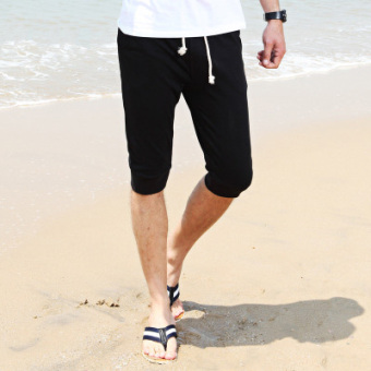 Sports Korean-style men casual Slim fit thin shorts Capri pants (CS black)