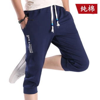 Sports Korean-style men casual Slim fit thin shorts Capri pants (K01 dark blue)