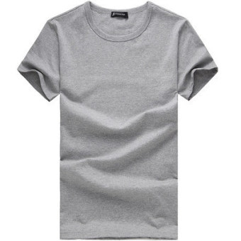 Sports Men slim fit crew neck top plain short-sleeve T-shirt (Pure gray round neck) (Pure gray round neck)