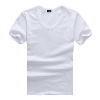 Sports Men slim fit crew neck top plain short-sleeve T-shirt (White v-neck) (White v-neck)