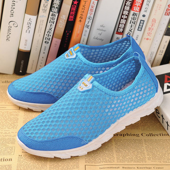 Sports Old Beijing breathable mesh spring and summer men and women shoes cloth shoes (Blue women's)