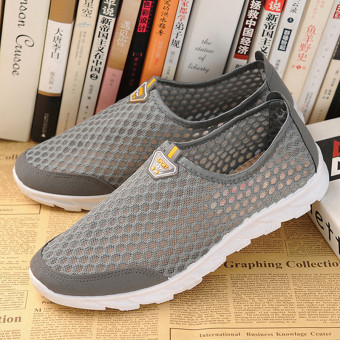 Sports Old Beijing breathable mesh spring and summer men and women shoes cloth shoes (Gray male models)