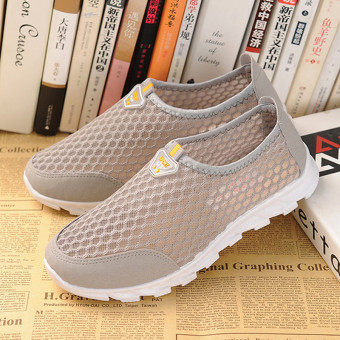 Sports Old Beijing breathable mesh spring and summer men and women shoes cloth shoes (Gray women's)