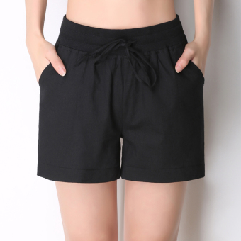 Sports versatile cotton linen white female women's pants shorts (Black)