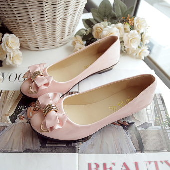 Spring and Autumn New style butterfly knot women's shoes (Pink)