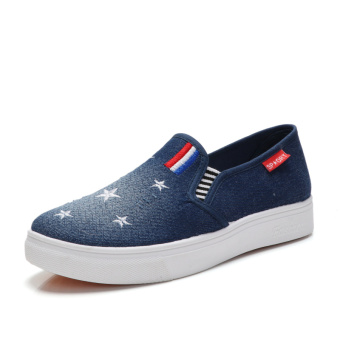 Spring and Autumn New style heavy-bottomed version to help low denim shallow mouth shoes (D-21 dark blue)