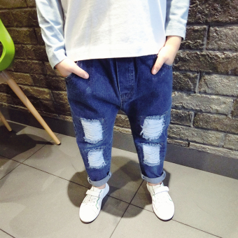 Spring and Autumn new children's denim pants in the small boy baby tide models children's clothing hole patch casual denim trousers