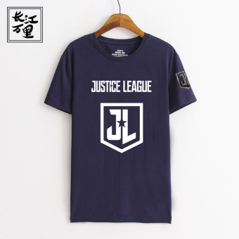 Star slub Cotton Short sleeved stretch men T-shirt (Dark blue Justice League)