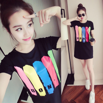 Ulzzang loose student long section short-sleeved t-shirt dress (Black)