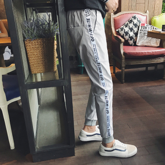 Stylish men spring students ankle-length pants versatile track pants (Gray)