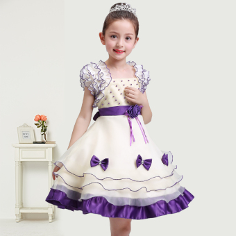 Girl's princess dress (Purple) (Purple)