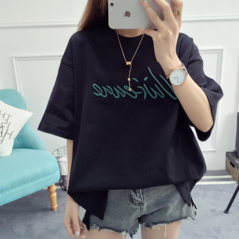 Summer short-sleeved t-shirt female student round neck cotton Korean version of embroidered big yards loose on the clothes wild short-sleeve body shirt (Black)
