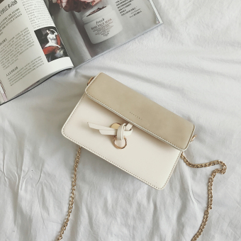 Summer small bag female 2017 New style tide Korean-style wild messenger bag minimalist shoulder bag handbag chain small square bag (Off-white color)