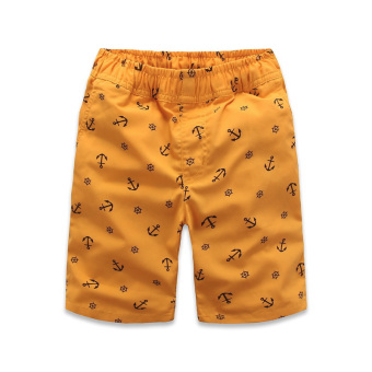 Summer thin boy's anchor printed shorts (Anchor yellowish brown color (20% Cotton)) (Anchor yellowish brown color (20% Cotton))