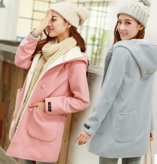 Sweet Autumn Winter Women Woollen Coats Thicken Outwear Long Coat Hooded - intl