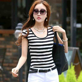Sweet beauty Slim fit striped t-shirt New style short sleeved t-shirt (Striped)