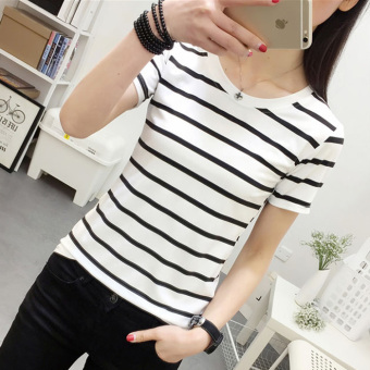Sweet beauty Slim fit striped t-shirt New style short sleeved t-shirt (White)