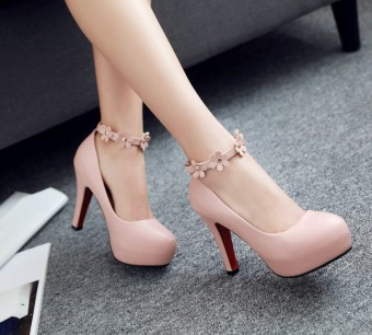 Sweet white fine with waterproof Taiwan high-heeled shoes Shoes(Pink color)