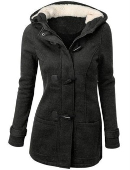 Thicken Coat Warm Wool Coat Long Coat Winter Coat Women Hoodie Loose Coat Women's Fashion Button Coat Black - intl