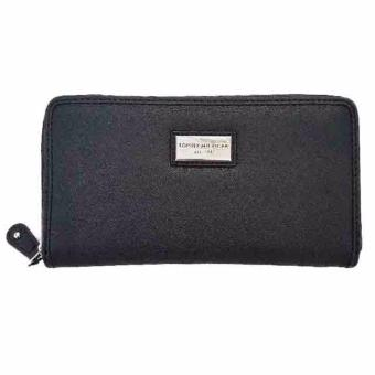 Tommy Hilfiger Women's Core Zip Around Faux Leather Wallet (Black)