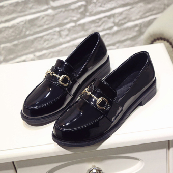 Chic British Spring and Autumn New style students women's shoes small leather shoes (Black Buckle)