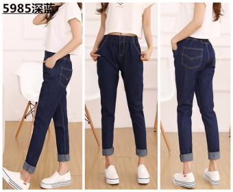 Ulzzang Korean-style female harem pants Plus-sized denim pants (Dark blue color)