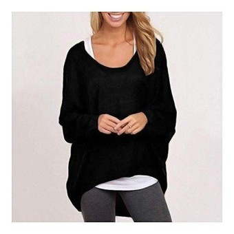 0db74194c5b Shop for Best Price VEECOME Women Plus Size Long Sleeve Pullover Sweater  Oversized Baggy Loose Jumper Tops Color Black Size Women`s XXL .