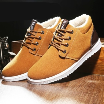 Velvet Boots for Men British Style Suede Snow Boots Winter Flat Platform Warm Shoes(Yellow) - intl