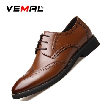 VEMAL Genuine Leather Men's Breathable Formal Shoes Business Casual Shoes Brown - intl