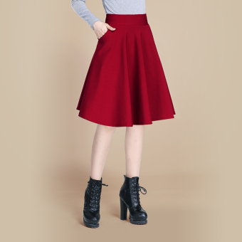 Women's High Waist Pleated A-line Skirt (Wine red color) (Wine red color)
