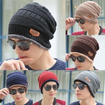 Winter Men Women Skull Knit Slouchy Beanie Fur Warm Baggy Wool Cap Skiing Hat - intl