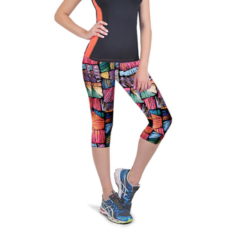 Women Capri Leggings High Waist Floral Printing Cropped Yoga Pants Fitness Workout Casual Trousers - Intl