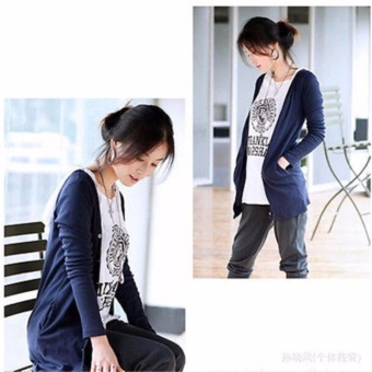 Women Casual Loose Long Sleeve Knitted Sweater Tops Cardigan Outwear Coat Navy - intl