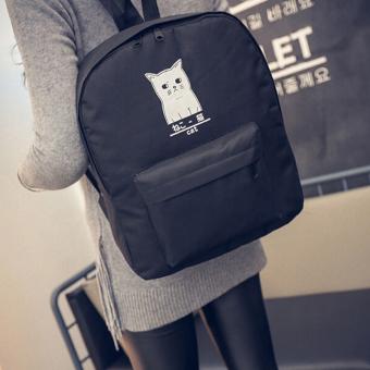 Women Cat Canvas Backpack Bag Girls School Bookbags Casual Travel Shoulder Bags Black - intl