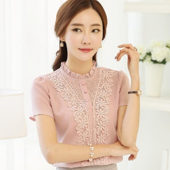 Women Clothing Short sleeve Chiffon Blouse Lace Crochet Female Shirts Ladies Blusas Tops Shirt Pink Blouses slim Tops - intl