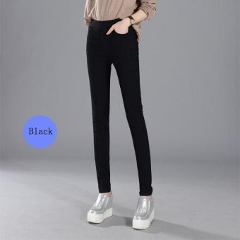 Women Elastic Waist Stretch Jeans Plus Size Casual Jean Female Pant Trousers(Black) - intl