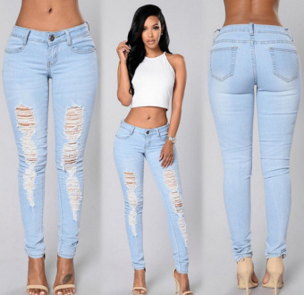 Women fashion denim trouser ripped skinny cropped pant jeans (Light blue light blue)