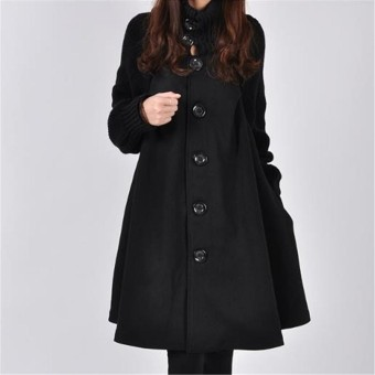 Women Fashion Plus Loose Wool Jackets Coats Autumn Winter Lady Plus Cape Coat Overcoat Casual Button Jacket - intl