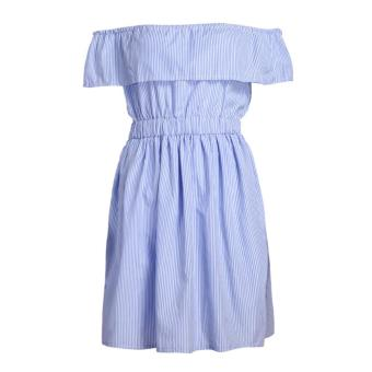 Women Fashion Sexy Off Shoulder Striped Beach Dress Mini Dress(Blue) - intl