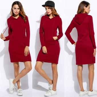 Women Fashion Slim Hooded Long Sleeve Solid Pencil Hoodie Dress - intl