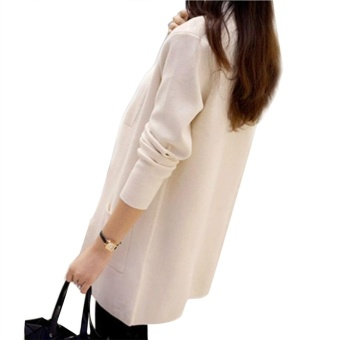 Women Knitted Sweater Long Sleeve Coat Solid Color Cardigan with Pocket Loose Outwear - intl