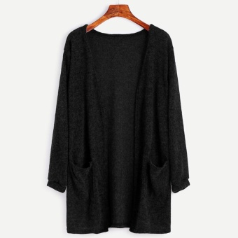Women Long Sleeve Oversized Loose Knitted Sweater Jumper Cardigan Outwear Coat Black - intl