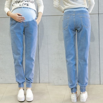Women Pregnant Wear Clothing Maternity belts Jeans Pant Harem Straight Feet Trousers(Light blue) - intl