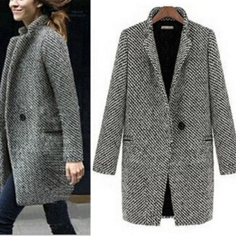 Women Slim Winter Warm Wool Lapel Long Coat Trench Parka Jacket Overcoat Outwear - intl