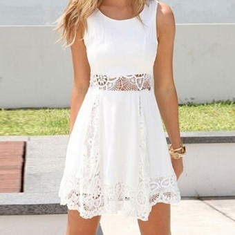 Women Summer Fashion Lace Floral Holiday Party Evening Tunic Flared Mini Dress - intl