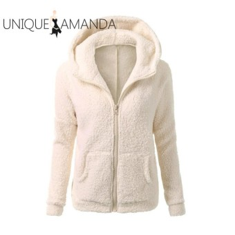 Women Thicken Fleece Winter Warm Jacket Hooded Zipper Overcoat - intl