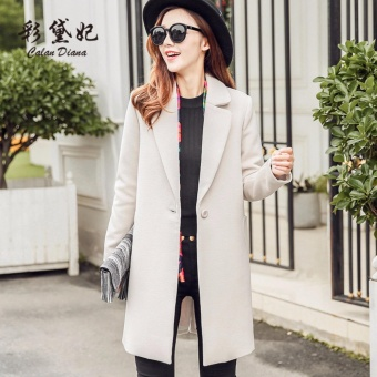 Women Winter Warm Wool Lapel Long Slim Trench Parka Coat Jacket Overcoat- Beige - intl